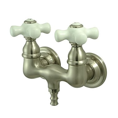 Kingston Brass Vintage Wall Mount Clawfoot Tub Faucet; Satin Nickel