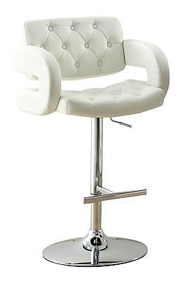 Hokku Designs Lesticia Adjustable Height Swivel Bar Stool; White