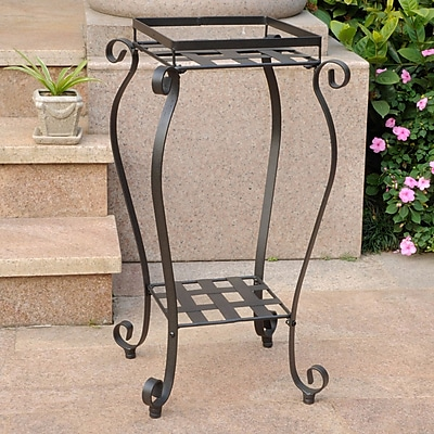 International Caravan Mandalay Novelty Plant Stand; Antique Black