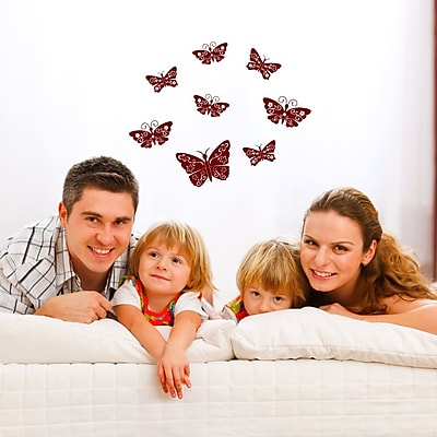 Style and Apply Floral Butterflies Wall Decal; Light Brown