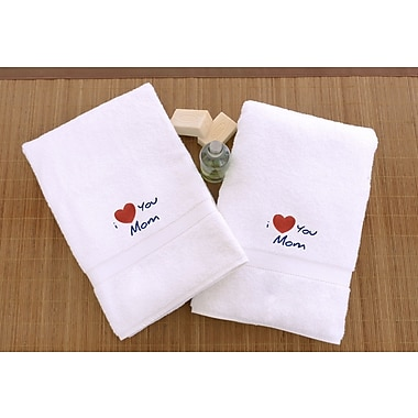 Linum Home Textiles Mom & Dad Embroidered Hand Towel (Set of 2)