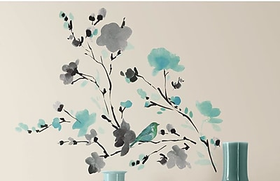 Room Mates Deco Blossom Watercolor Bird Branch Wall Decal WYF078277118072
