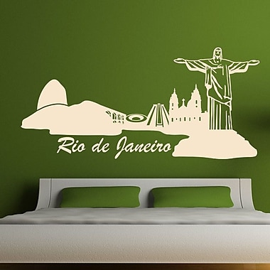 Style and Apply Rio de Janeiro Skyline Wall Decal; Red