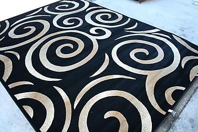 Persian-rugs Oriental Swirly Black Area Rug; Rectangle 5'2'' x 7'2''