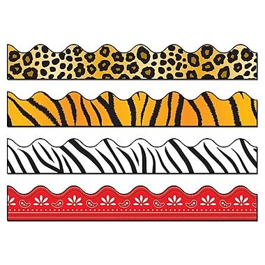 Carson-Dellosa Scalloped Variety Border Set II, Leopard, Tiger, Zebra and Red Bandana Print (144029)