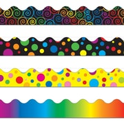 "Carson-Dellosa 144031 156' x 2.25"" Scalloped Variety Border Set IV, Rainbow, Colorful Dots, Big Rainbow Dots, and Rainbow Swirls"