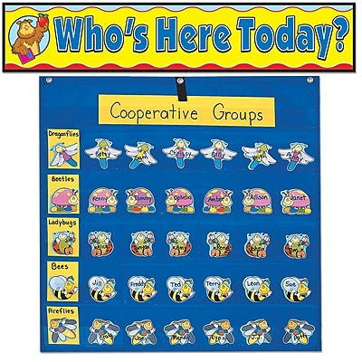 Carson-Dellosa Classroom Management Pocket Chart with Attendance/Multiuse Replacement Cards PK-8 (144205)