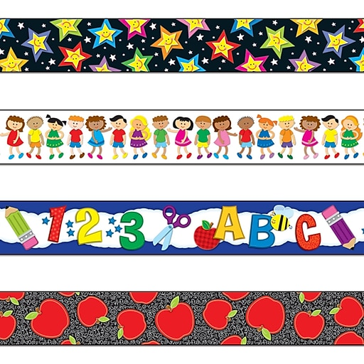 "Carson-Dellosa 144547 144' x 3"" Back to School Straight Border Set, Stars, Kids, School Fun, Apples"
