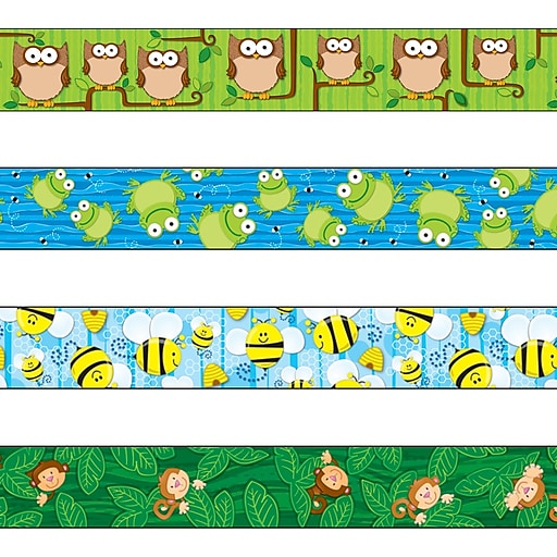 """Carson-Dellosa 144548 144' x 3"""" Variety Straight Border Set, Woodland Owls, Frogs, Bees, and Monkeys"""