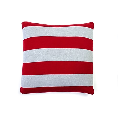Darzzi Rugby Stripe Cotton Throw Pillow; Red Gray Melange