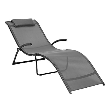 CorLiving PJR-429-R Riverside Folding Reclined Lounger, Black/Silver Grey