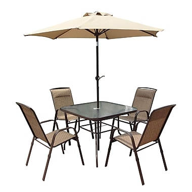 CorLiving PZT-626-S 5-Piece Patio Dining Set with Tilting Umbrella