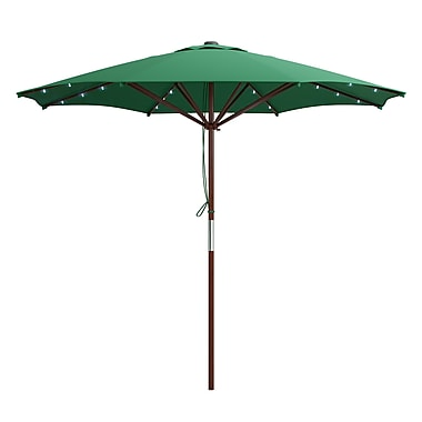 CorLiving PZT-734-U Patio Umbrella with Solar Power LED Lights, Green