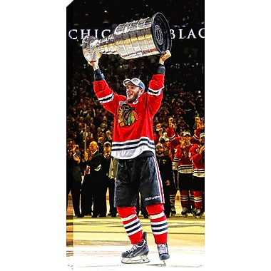 Toile de la Coupe Stanley des Blackhawks de Chicago de 2015, Jonathan Toews, 14 x 28 po