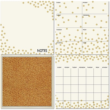Wall Pops Dry Erase 4-Piece Organization Kit, Gold Confetti