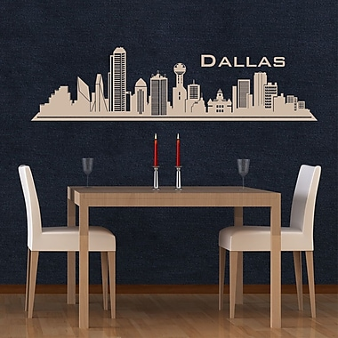 Style and Apply Dallas Skyline Wall Decal; White