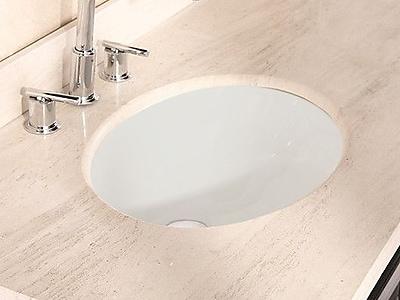 American Imaginations American Imaginations Ceramic Oval Undermount Bathroom Sink w/ Overflow