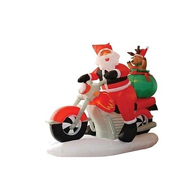 BZB Goods Christmas Inflatable Santa Claus Driving Motorcycle Decoration