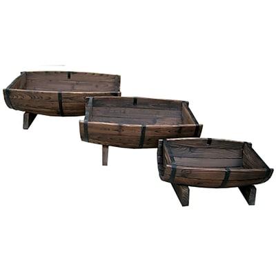 LeighCountry Char-log 3-Piece Fir Pot Planter Set