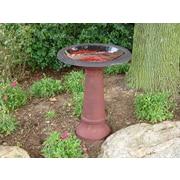 Tierra Garden Fiber Clay Birdbath; Red
