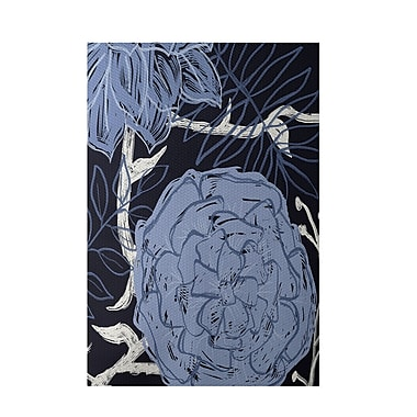 E By Design Floral Navy Blue Indoor/Outdoor Area Rug; 3' x 5'