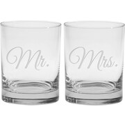 Culver Deep Etched 14 Oz. Double Old Fashioned Glasses (Set of 2)
