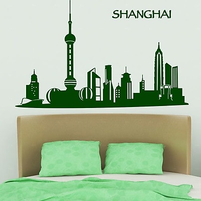 Style and Apply Shanghai Skyline Wall Decal; Yellow