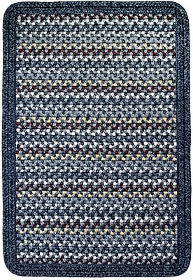 Thorndike Mills Vineyard Haven South Beach/Blue Heather Border Indoor/Outdoor Area Rug; Square 6'