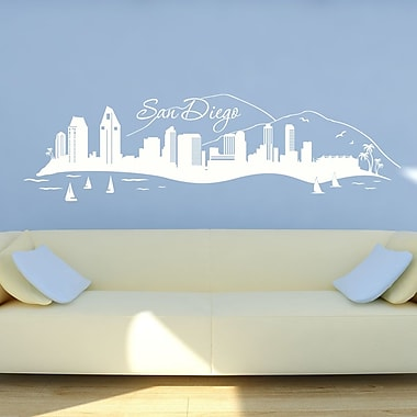 Style and Apply San Diego Skyline Wall Decal; Black