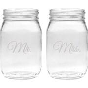 Culver Deep Etched 16 Oz. Jar Glasses (Set of 2)
