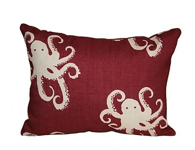 Rennie & Rose Design Group Octopoda Boudoir/Breakfast Pillow; Red