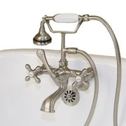 Cambridge Plumbing Clawfoot Wall Mount Tub Faucet w/ Hand Held Shower; Brushed Nickel