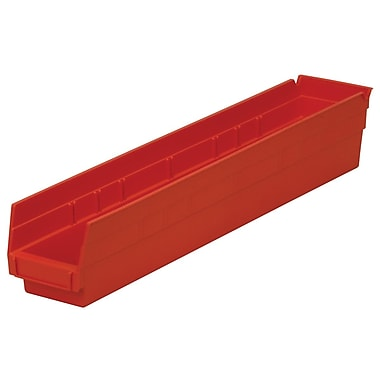 Akro-Mils Shelf Bin, 23-5/8 x 4-1/8 x 4,Red