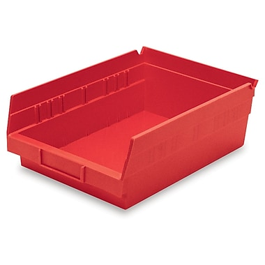 Akro-Mils Shelf Bin,11-5/8 x 8-3/8 x 4, Red