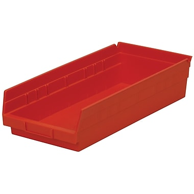 Akro-Mils Shelf Bin,17-7/8 x 8-3/8 x 4, Red