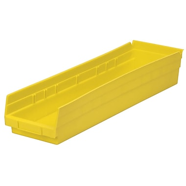 Akro-Mils Shelf Bin,23-5/8 x 6-5/8 x 4, Yellow