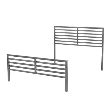 Amisco – Tête et pied de lit pour grand lit Theodore de 60 po en métal, magnétite/gris lustré