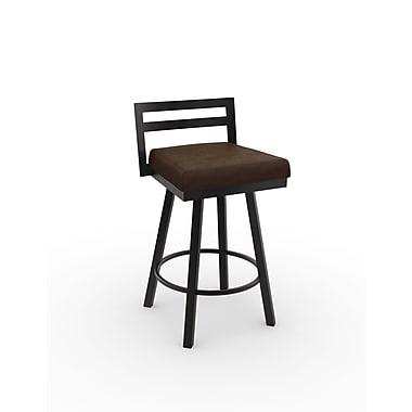 Amisco – Tabouret de bar pivotant Dereken métal de 30 po, cobrizo/brun foncé texturé avec siège en polyuréthane brun foncé