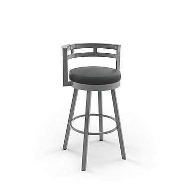 Amisco (41543-26WE/1B24DAF4) Render Swivel Metal Counter Stool, Glossy Grey/Mattee charcoal black