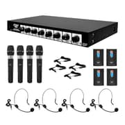 Pyle® PDWM8700 Wireless Microphone System With 4 Lavalier and 4 Handheld Mics, 50 Hz - 16 kHz (93576624M)