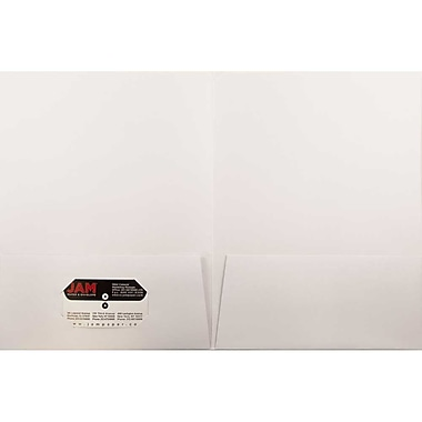 JAM Paper® Two Pocket Presentation Folders, White Linen, 12/Pack (95448g)