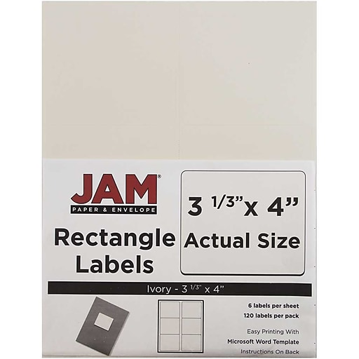 JAM Paper Mailing Address Labels X Ivory Pack - 3 x 4 label template