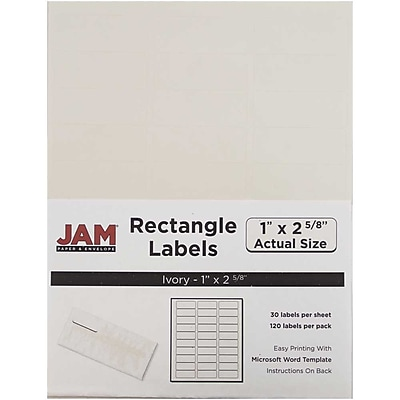 JAM Paper® Mailing Address Labels, 1 x 2 5/8, Ivory, 120/pack (17966071)