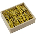 JAM Paper® Wood Clip Clothespins, Small 7/8 Inch, Yellow Clothes Pins, 50/Pack (230726885)