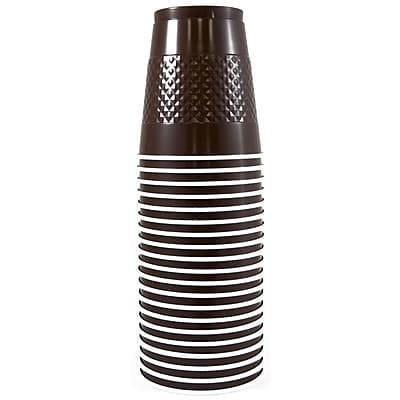 JAM Paper Plastic Cups, 12 oz, Brown, 20/pack (255525243) 1050881