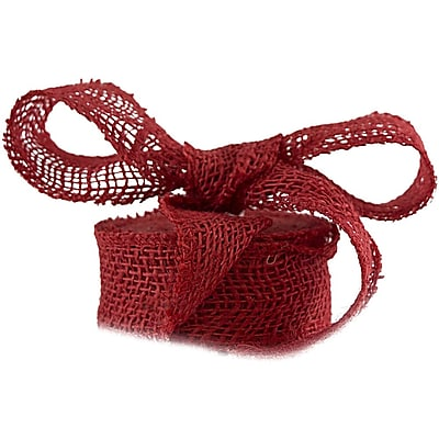 JAM Paper® Burlap Ribbon, 1.5 inch wide x 10 Yards, Red, Sold Individually (344226957)