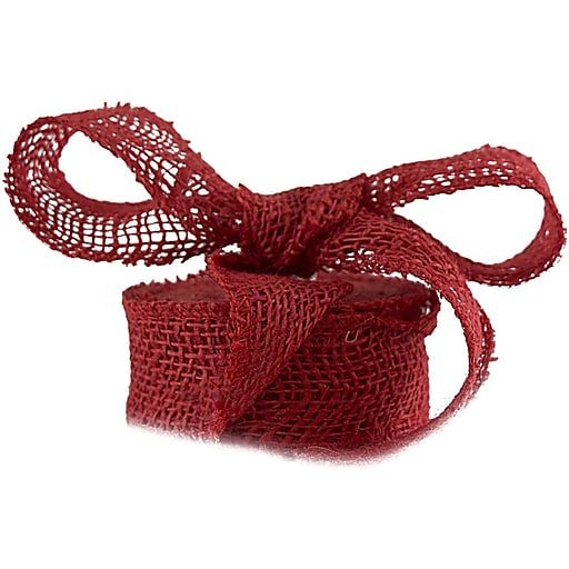 JAM Paper® Burlap Ribbon, 1 1/2 Inch x 10 Yards, Red, Sold Individually (344226957)