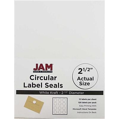 JAM Paper® Round Circle Label Sticker Seals, 2.5 inch diameter, White, 120/pack (2147615066)