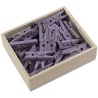 JAM Paper® Wood Clothing Pin Clips, Small 7/8, Lavender Purple, 50/pack (2230719107)