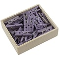 JAM Paper® Wood Clip Clothespins, Small 7/8 Inch, Lavender Purple Clothes Pins, 50/Pack (2230719107)